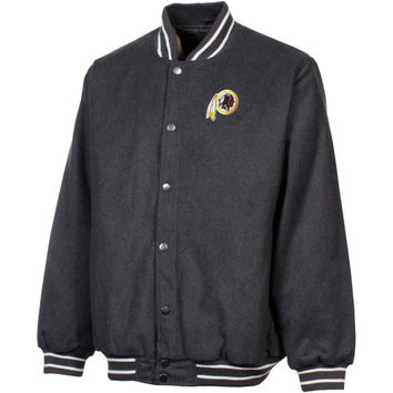 Washington Redskins Full Button Wool Letter Jacket - Gray