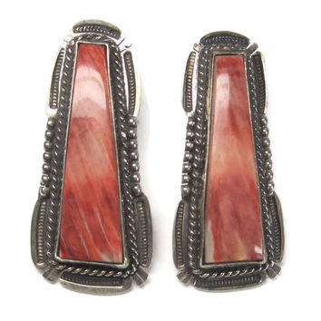 Large Vintage Navajo Spiny Oyster Earrings Bennie Ration