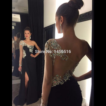 1192W Sexy Sparkly Crystal Beaded One Long Sleeve Front Slit Prom Dresses 2016 Black Chiffon Mermaid Long Party Evening Dress
