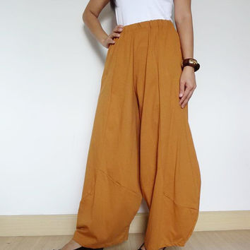 FREE  GIFT (New Design)  Mustard - Harem Trouser, Casual Unisex Pant.  In Cotton Jersey.