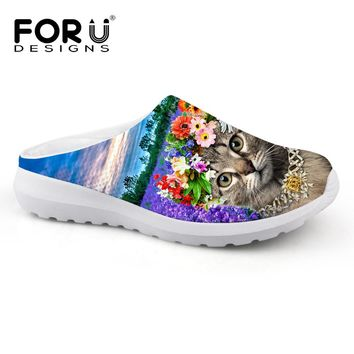 FORUDESIGNS Women Flats Mesh Sandals Cute 3D Animal Cat Printed Women Casual Summer Sandals Female Beach Water Shoes for Lady