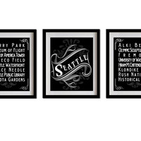 Seattle, Washington, Typography Art Posters - Set of 3 - 8X10 - Chalk Art - Seattle's Attractions Wall Art Decoration - 022-S3-8X10