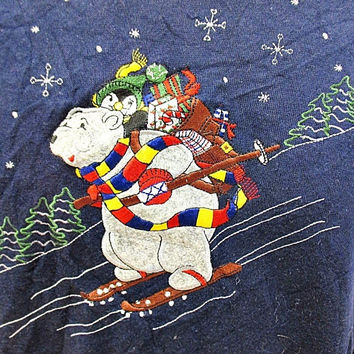 Vintage Navy Christmas Skiing Polar Bear And Penguin Jumper Sweater Large