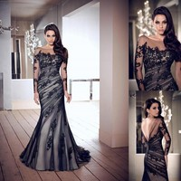Sexy Black Prom Ball Gown Wedding Party Evening Cocktail Pageant Dress Custom