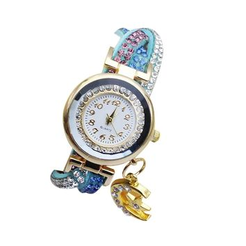 Full Diamond Three Color Winding Belt Moon Pendant Ladies Watch