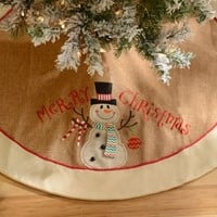 Merry Christmas Burlap Christmas Tree Skirt