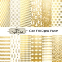 Gold Foil Digital Paper, Scrapbooking, Gold Foil Scrapbook paper, Gold Invitations, Gold Foil Background Paper, Gold Stickers, Christmas
