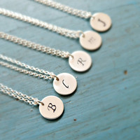 Personalized Bridesmaid Jewelry Monogram Necklace Tiny Silver Initial Necklace