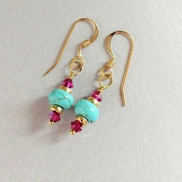 Gold Filled Dainty Hot Pink Turquoise Earrings