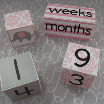 Baby Age Blocks, Monthly Baby Blocks, Age Blocks, Baby, Baby Girl, Newborn, Monthly Pictures, Elephant Nursery, Baby Shower, Nursery, Gift