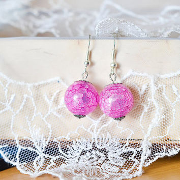 Pink Glass Beads Earrings - Minimalist Jewelry