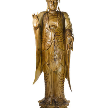 Standing Buddha in Shunya Mudra - 32-inch Hand Carved Statue in Suar Wood