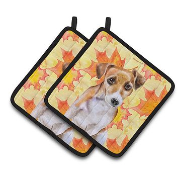 Jack Russell Terrier #2 Fall Pair of Pot Holders BB9974PTHD