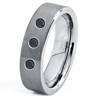 Tungsten Diamond Wedding Band, Tungsten Diamond Ring, Diamond Wedding Band, Wedding Bands, Mens Wedding Band, Men Tungsten Rings White Black