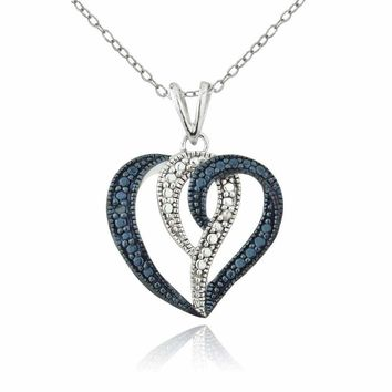 925 Silver Treated Treared Blue & White Diamond Accents Heart Swirl Necklace