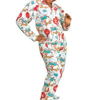 White Tootsie Pop Adult Footed Pajamas With Drop Seat