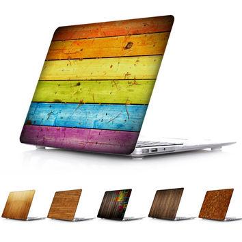 Wood Color Design Printed Crystal Case Cover for MacBook Pro Retina 13 15 Mac Book Air 11 13 12 Model:A1534 A1466 A1502