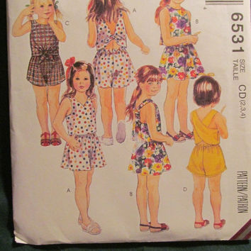 SALE Uncut 1993 McCall's Sewing Pattern, 6531! 2-3-4 Toddler/Girls/Tops/Shorts/Sleeveless Shirts/Summer/Spring/Vintage Pattern/Tie Up Back