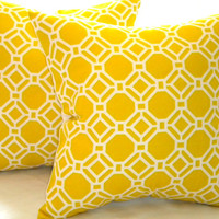 Designer Pillow cover Yellow geometric accent pillow cover 20 x 20