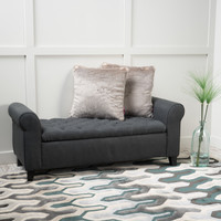 Charlemagne Dark Grey Fabric Armed Storage Bench