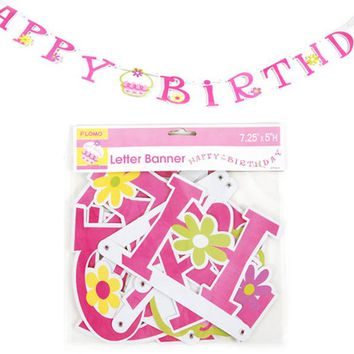 happy birthday pink cupcake jointed letter banner Case of 36