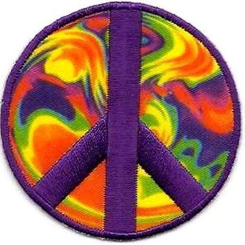 Peace Sign Psychedelic Awesome NEW Embroidered Funny Biker Vest Patch PAT-2676