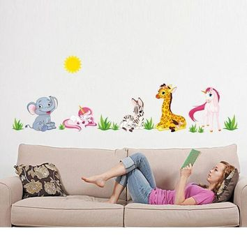 ICIKU7Q Super Deal 2016 Hot Sale Animal Pattern Removable Mural Wall Stickers Wall Decal Room Home Decor Mural Decal  XT