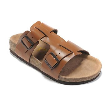 2017 Hot Sale Birkenstock Summer Fashion Leather Cork Flats Beach Lovers Slippers Casual Sandals For Men black Couples Slippers size 40-45