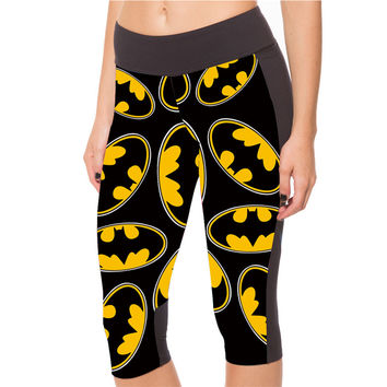New Sexy 2015 Women's 7 point pants women's leggings Dark yellow Batman digital print women high waist Side pocket phone pant