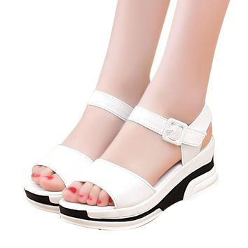 Women's Summer Sandals shoes women 2017 open heeled sandals Platform Shoes woman Open Toe Gladiator wedges shoe #0504