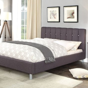Acme 26490Q Mert gray linen fabric padded crystal like tufting queen bed set