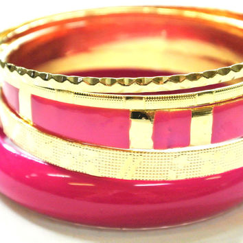 Hot Pink and Gold Bangle Set