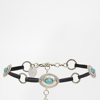 Black and Brown Leather and Turquoise Concho Chain Belt
