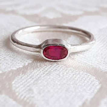 Delicate Ruby and Sterling Silver Stacking Ring - Minimalist Ring - Small Ruby Ring - Simple Ruby Ring - July Birthstone Ring - Gaia's Candy