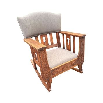 Pre-owned Arts & Crafts Carved Rocker w/New Upholstery