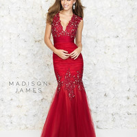 Madison James 15-147 In Stock Red Size 8 V Neck Mermaid Prom Dress