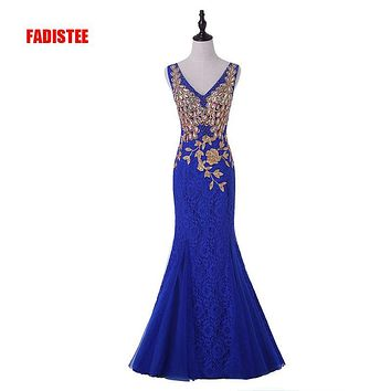 FADISTEE Hot sale evening dresses gold appliques dresses see-through back  prom party  dress vestidos de festa