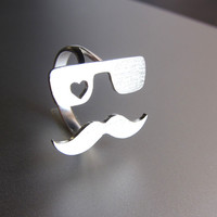Mr. Mustache in Love, Heart Ring - Handmade Silver Ring