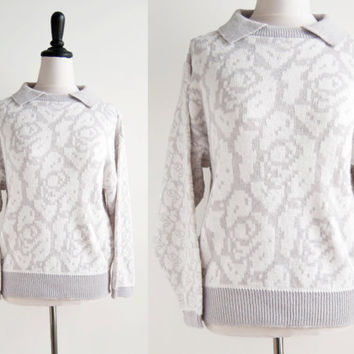1980s Jantzen Dusty Grey & White Sparkle Pixelated Rose Collared Sweater