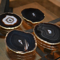 Agate Slice Coasters with Gold Leaf Edging- Set of 4