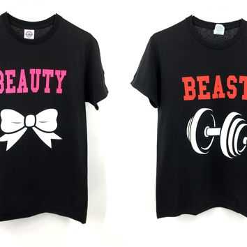 BEAUTY and BEAST Couple Matching Love T-Shirts Set