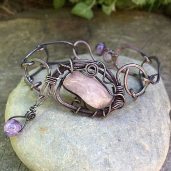 Amethyst stone and Copper hammered link chain bracelet