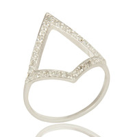 925 Sterling Silver White Topaz Gemstone Accent Open Statement Ring