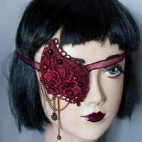 Cunene Eyepatch victorian gothic pirate Burgundy Wine Lace and pearls