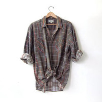 20% OFF SALE / Vintage Plaid Flannel / Grunge Shirt / Boyfriend button up shirt