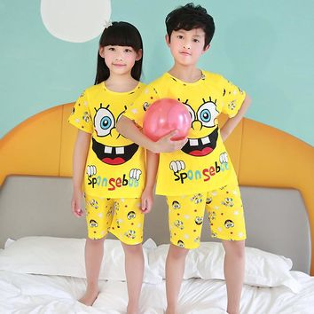 Children's pajamas set summer short sleeved boy pyjamas girls cute cartoon home clothes big children's sleepwear clothes