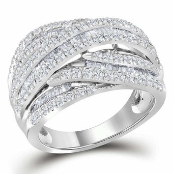 10kt White Gold Women's Baguette Round Diamond Crossover Strand Band Ring 1-1/2 Cttw - FREE Shipping (US/CAN)
