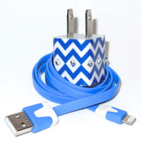 iPhone Charger Embellished with Blue Chevron Bling