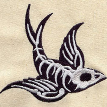 Swallow tattoo embroidered baby bib by MorningTempest on Etsy