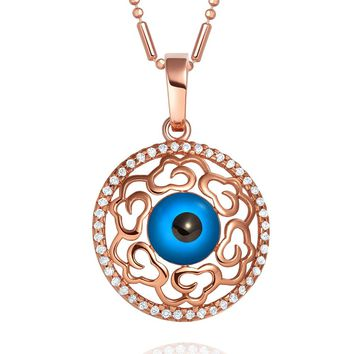 Magical Evil Eye Protection Amulet Medallion Gold-Tone Heart Accents Sparkling Crystals 18 Inch Necklace